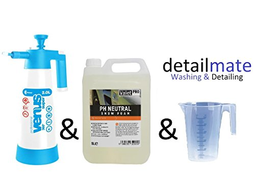 ValetPRO ph Neutral Snow foam 5 Liter + Kwazar Super Foamer 2 Liter + detailmate Messbecher 250 ml